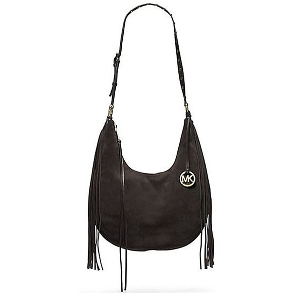 8499b0a610 Michael Kors Rhea Large Suede Shoulder Bag